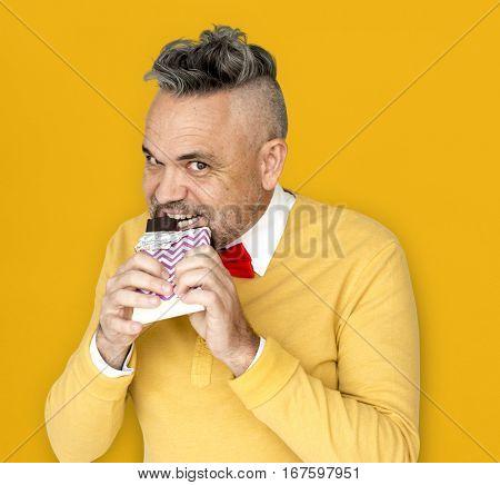 Caucasian Man Eating Chocolate Smile