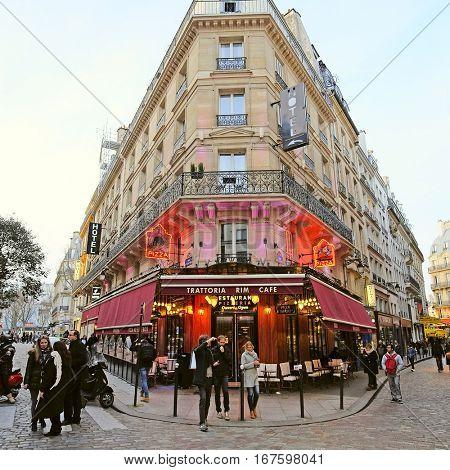 Paris, France, February 6, 2016: house in a center of Paris