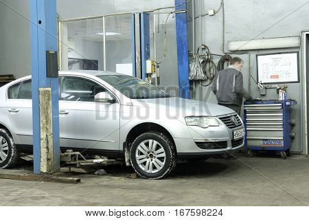 Moscow, Russia - December, 8, 2016: Interior of a car repair station