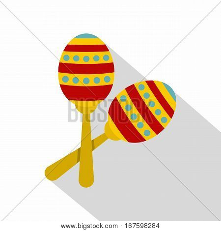 Colorful maracas icon. Flat illustration of colorful maracas vector icon for web on white background