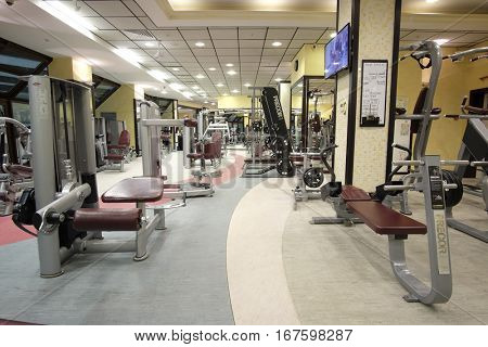Moscow, Russia - September, 19, 2016: interior of a modern fitness with equipment