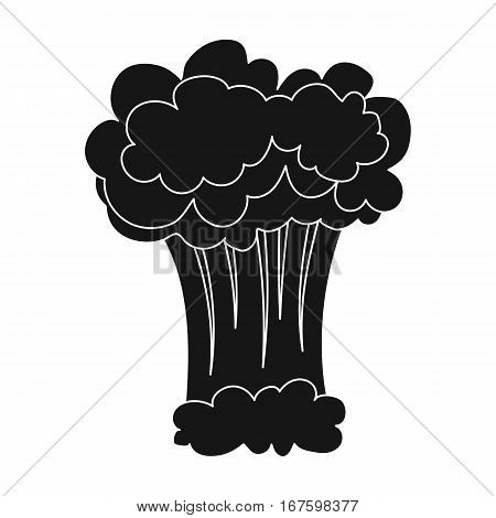 Nuclear explosion icon in black design isolated on white background. Explosions symbol stock vector illustration. - stock vector