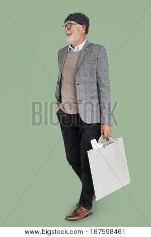 Businessman Design Blueprint Bag Portrait Concept