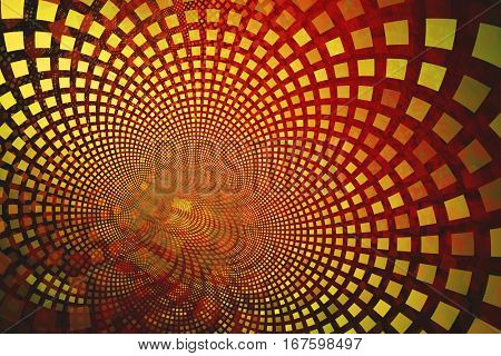 Fractal with yellow tiles on curving out, an abstract background image