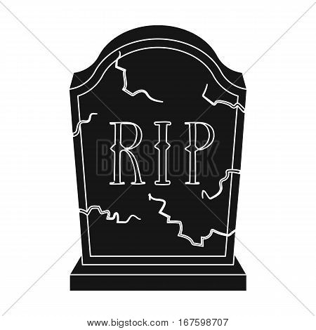 Headstone icon in black design isolated on white background. Funeral ceremony symbol stock vector illustration. - stock vector