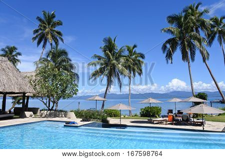 A pool in a tropical resort on Vanua Levu Island Fiji.