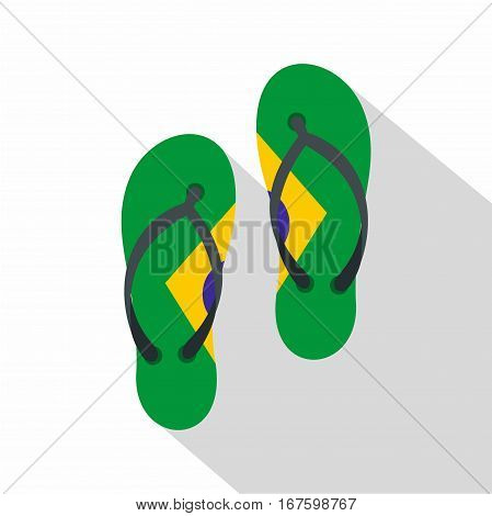 Flip flops in Brazil flag colors icon. Flat illustration of flip flops in Brazil flag colors vector icon for web on white background