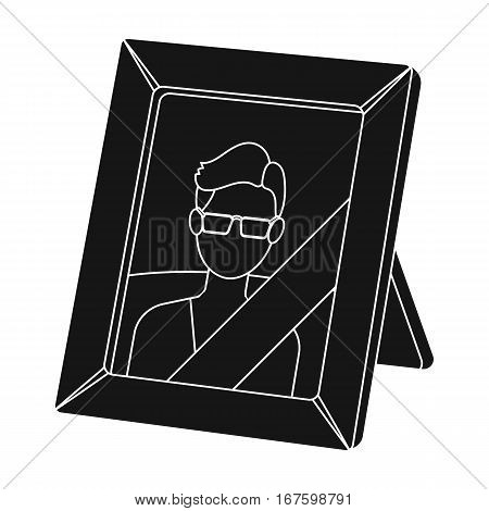 Portrait of deceased person icon in black design isolated on white background. Funeral ceremony symbol stock vector illustration. - stock vector