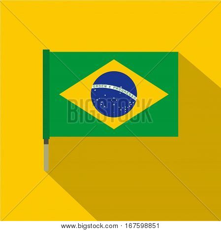National flag of Federative Republic of Brazil icon. Flat illustration of National flag of Brazil vector icon for web on yellow background