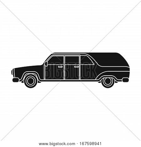 Hearse icon in black design isolated on white background. Funeral ceremony symbol stock vector illustration. - stock vector