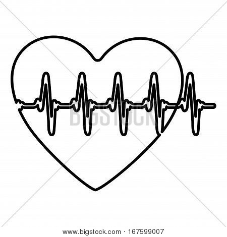 monochrome contour of heart with line vital sign vector illustration