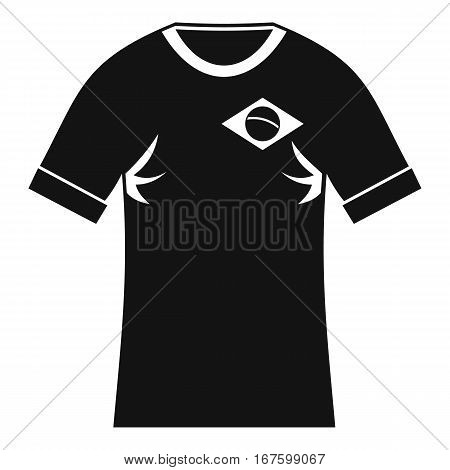 Shirt with the flag of Brazil sign icon. Simple illustration of shirt with the flag of Brazil sign vector icon for web