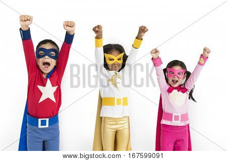 Superhero Kids Hands Up Flying Concept