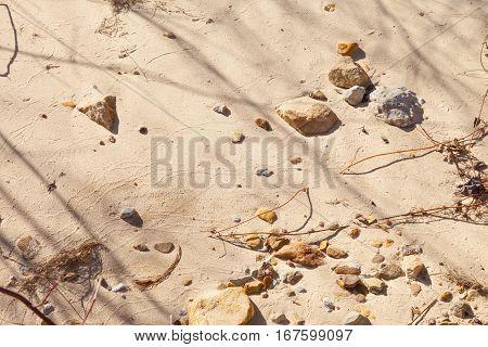 Sand sticks rocks and pebbles on a beach background