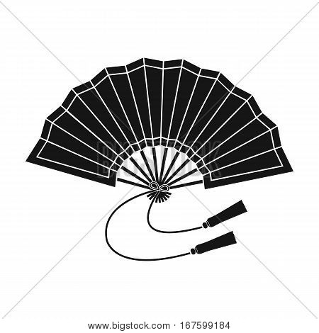 Folding fan icon in black style isolated on white background. Japan symbol vector illustration. - stock vector