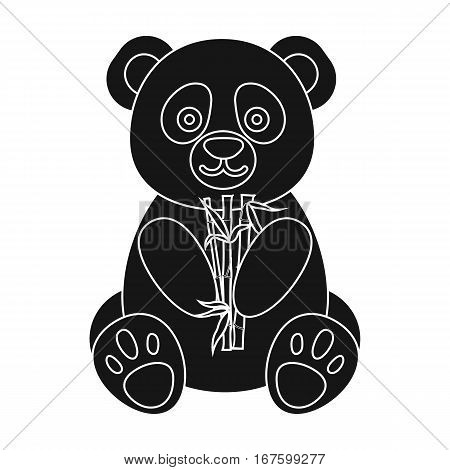 Panda icon in black style isolated on white background. Japan symbol vector illustration. - stock vector