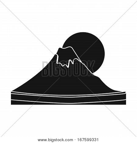 Mount Fuji icon in black style isolated on white background. Japan symbol vector illustration. - stock vector