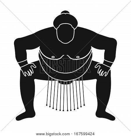 Sumo wrestler icon in black style isolated on white background. Japan symbol vector illustration. - stock vector