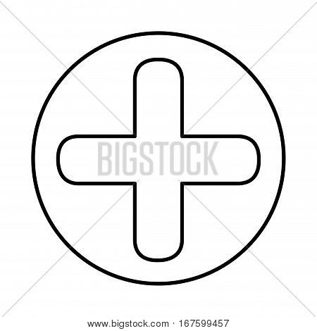 monochrome contour with symbol cross in circle vector illustration
