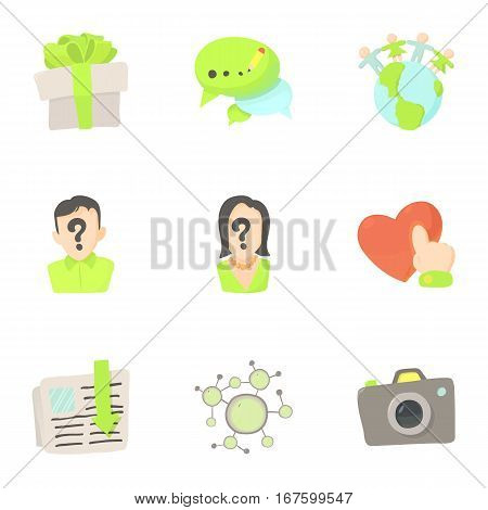 Online interaction icons set. Cartoon illustration of 9 online interaction vector icons for web