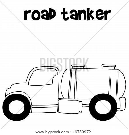 Hand draw road tanker vector collection stock