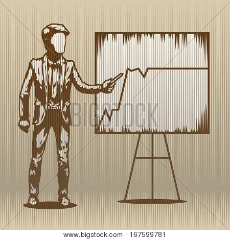 Man shows graphics on the flip chart. Manager Director Speaker dealer orator charts annual report. infograph. Vector illudtrations.