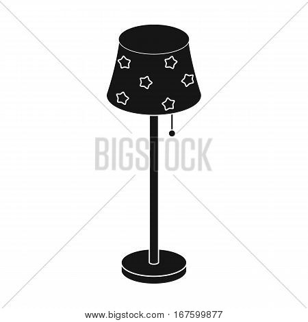 Floor lamp icon in black design isolated on white background. Sleep and rest symbol stock vector illustration. - stock vector