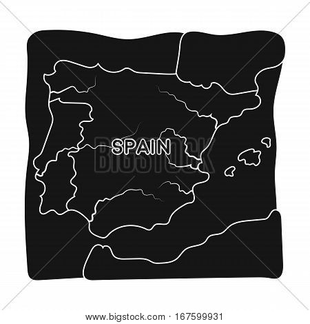 Territory of Spain icon in black design isolated on white background. Spain country symbol stock vector illustration. - stock vector