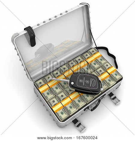 Money to buy a car. Car key is lying on open suitcase filled with packs of US dollars. Isolated. 3D Illustration