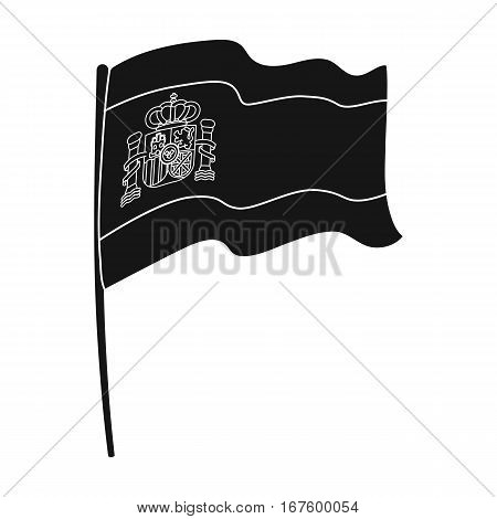 Flag of Spain icon in black design isolated on white background. Spain country symbol stock vector illustration. - stock vector