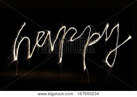 Word Happy Made By Fireworks