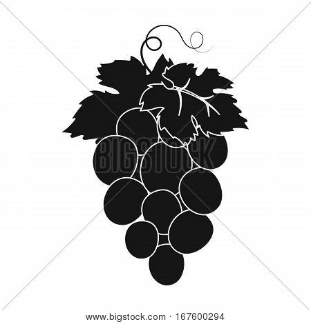 Bunch of wine grapes icon in black design isolated on white background. Spain country symbol stock vector illustration. - stock vector