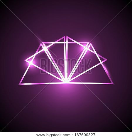 Abstract background with pink neon triangles, stock vector