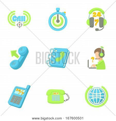 Technical support icons set. Cartoon illustration of 9 technical support vector icons for web