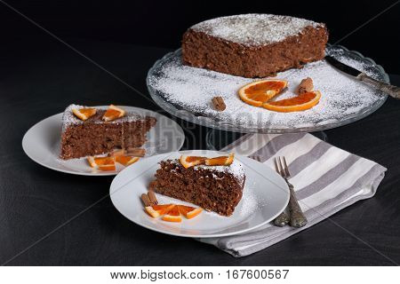 Soft Cake With Chocolate And Oranges