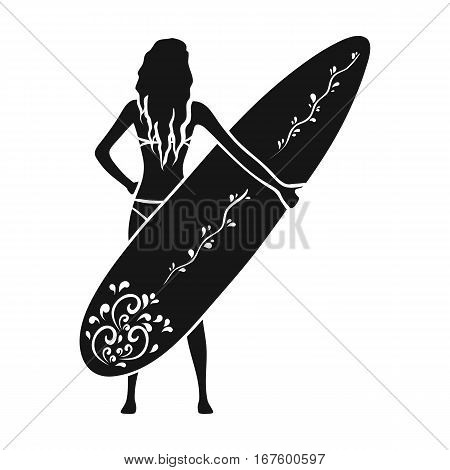 Girl is holding a surfboard icon in black design isolated on white background. Surfing symbol stock vector illustration. - stock vector