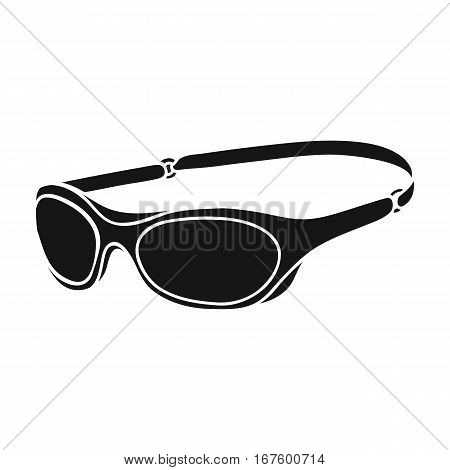 Glasses for swimming icon in black design isolated on white background. Surfing symbol stock vector illustration. - stock vector