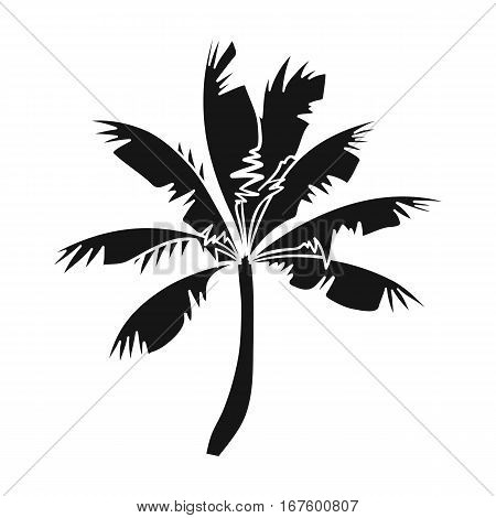 Palm tree icon in black design isolated on white background. Surfing symbol stock vector illustration. - stock vector