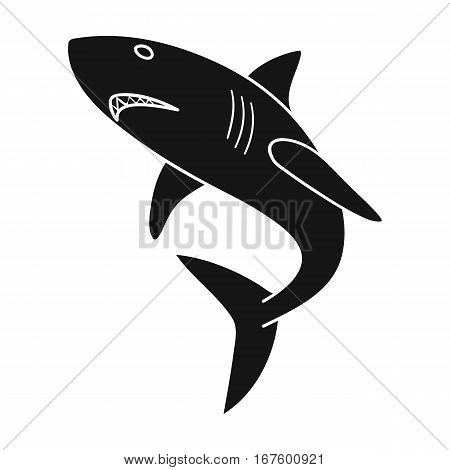 Great white shark icon in black design isolated on white background. Surfing symbol stock vector illustration. - stock vector