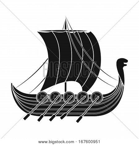 Viking s ship icon in black design isolated on white background. Vikings symbol stock vector illustration. - stock vector