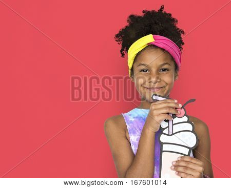 Little African Girl Holding Illustration