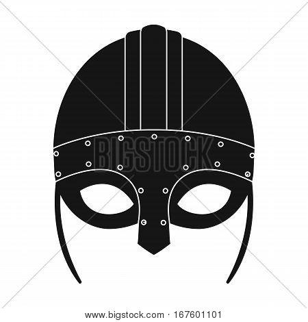 Viking helmet icon in black design isolated on white background. Vikings symbol stock vector illustration. - stock vector