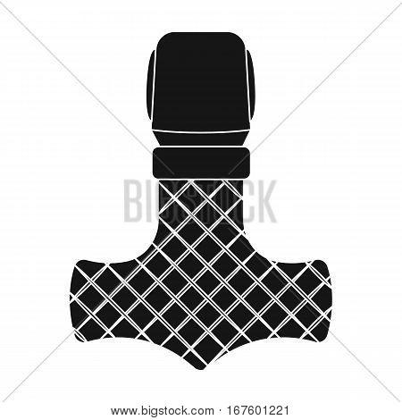 Viking god hammer icon in black design isolated on white background. Vikings symbol stock vector illustration. - stock vector