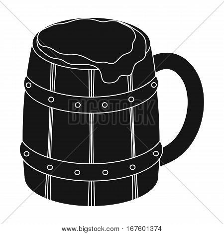 Viking ale icon in black design isolated on white background. Vikings symbol stock vector illustration. - stock vector