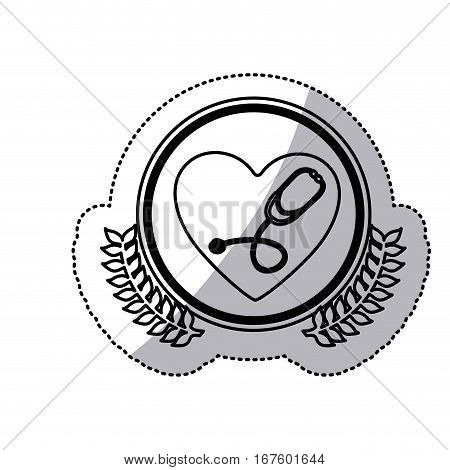 monochrome sticker with circle with olive branches and heart with stethoscope inside vector illustration