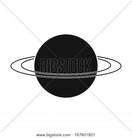 Uranus icon in black design isolated on white background. Planets symbol stock vector illustration. - stock vector