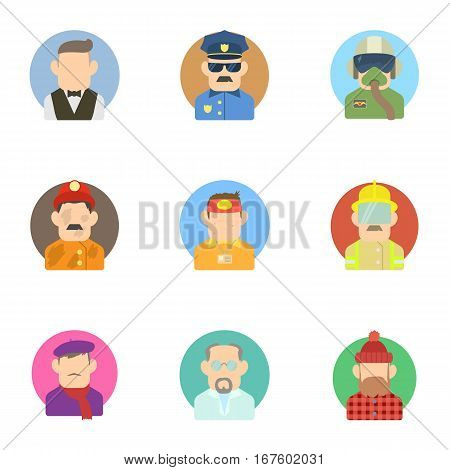 Profession icons set. Flat illustration of 9 profession vector icons for web