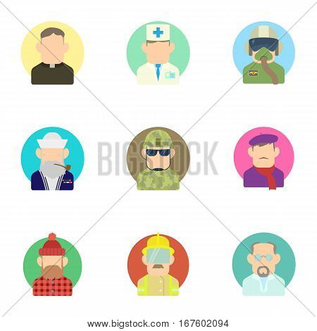 Occupation icons set. Flat illustration of 9 occupation vector icons for web