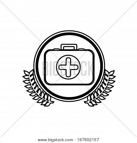 monochrome firts aid kit with symbol cross in circle with olive branches vector illustration