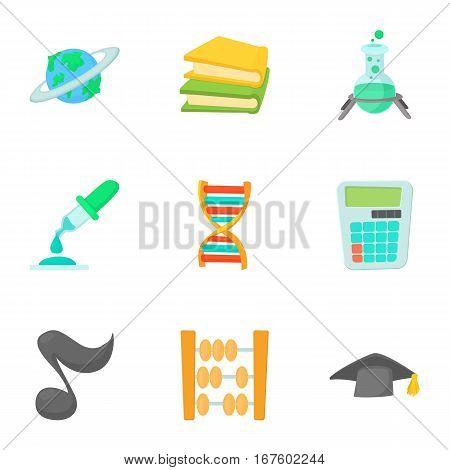 School icons set. Cartoon illustration of 9 school vector icons for web